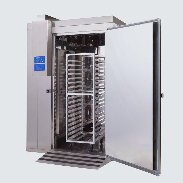 A blast chiller on display with doors open.